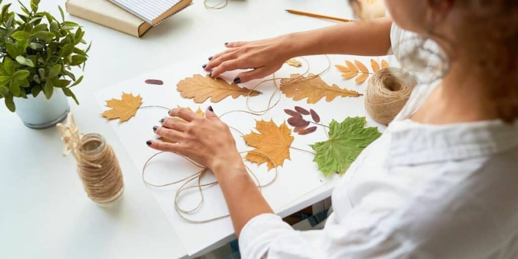 lady in her 50s doing arts and crafts