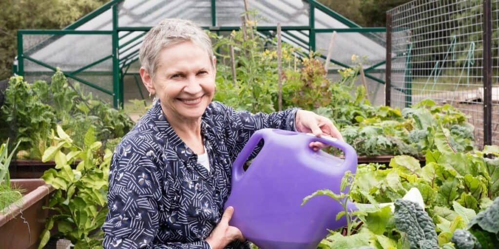 women in her 50s gardening as a hobby
