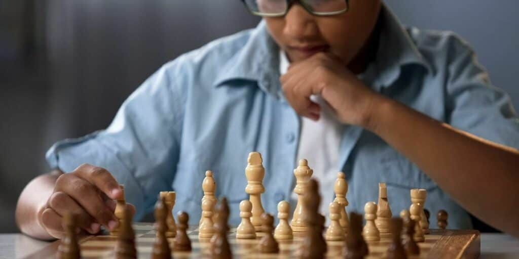 smart person playing chess