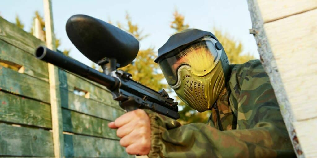 being shot at paintball